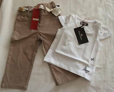 ELLE & FLORIANE - Toddler Girls 12m PANTS w/BELT & TEE SHIRT/BUTTERFLY TOP NWT