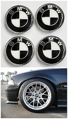 4 X 68mm BMW Car Alloy Wheel Center Hub Cap Emblem Badge Black # 36136783536