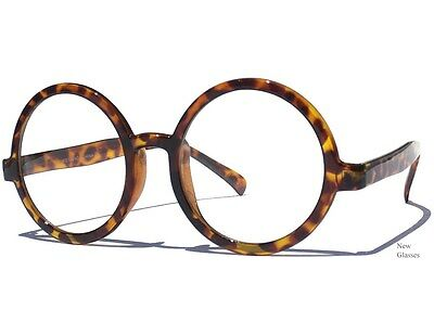 ROUND CLEAR LENS GLASSES OVERSIZE Hipster Retro Circle Style Tortoise Shell