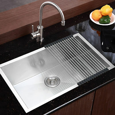 "Commercial Stainless Steel Top Mount Kitchen Sink 18 Gauge Single Bowl 28""x18"""