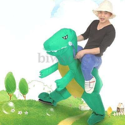 Adult Inflatable Dinosaur Halloween Dress Unisex Party Costume Suit Rider Outfit
