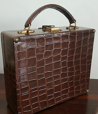1950s Robex Calf Leather Vanity Make-Up Case - Paul Duval Bottles Cold Cream Jar