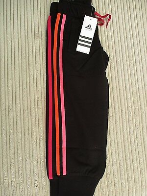 adidas girls ess black jogger pants, pink/orange stripe sizes 3-4 & 5-6 years