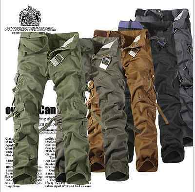 Men's Camo Combat Cotton Work Pants Casual Military Army Cargo Leisure Trousers