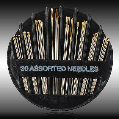 30PCS Newly Assorted Hand Sewing Needles Embroidery Mending Craft Sew Case Lots