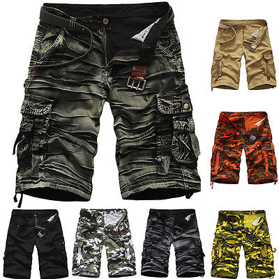 Mens Casual Army Cargo Combat Camo Camouflage Overall Shorts Sports Pants