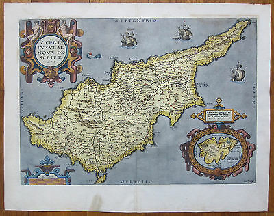 Ortelius Original Colored Map of Cyprus - 1598