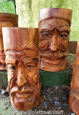 Hand Carved Wooden Forest Green Man Bamboo Planter Garden Plant Pot Large 25cm