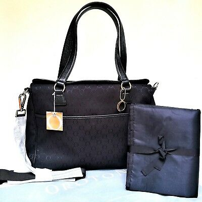 NEW Oroton Signature O Nappy Baby Bag Tote Handbag Black Wet Pack Mat RRP$495