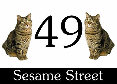 Wheelie Bin Stickers x 4 two Tabby Cats Design. Street / House No. 160x110mm.