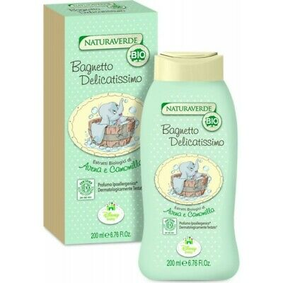 NATURAVERDE Organic Bath Delicate For Children Extracts Chamomile,Aveno 200Ml