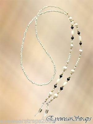 "NEW Long 30"" Pearl, Gold, White & Black Beaded Glasses / Sunglasses Chain Strap"