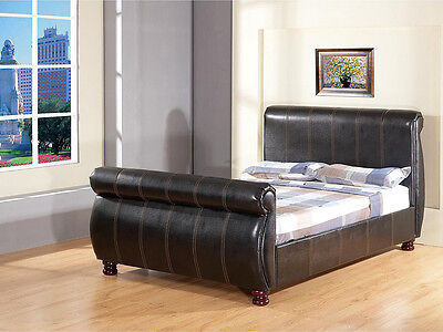 French Inspired Faux Leather Sleigh Bed Solid Wood Ball Feet + Mattress Options