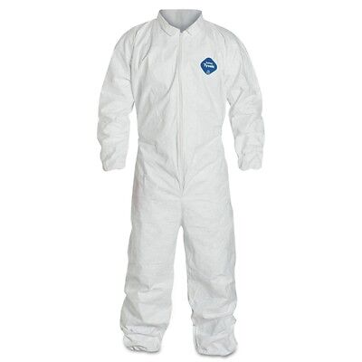 Dupont TY125S White Tyvek Disposable Coverall Bunny Suit W/Elastic Wrists/Ankles