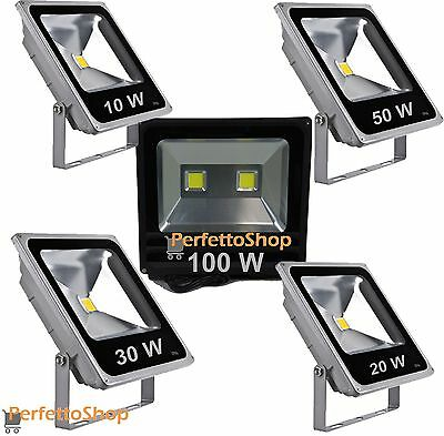 Faro Led Faretto Slim Alta Luminosita 10W 20W 30W 50W 100W Watt W