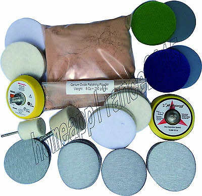 Deep  Scratch Remover ,Glass Polishing Kit 8 OZ Cerium Oxide  and 2'' Wheel