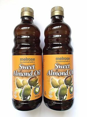 MELROSE 1L ( 2 x 500ml ) 100% Pure SWEET ALMOND OIL Cold Pressed Carrier Oil 1l
