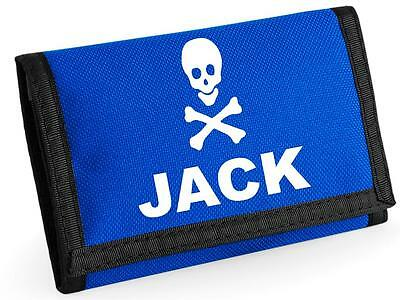 Personalised SKULL & CROSSBONE Wallet.  Choice of colours