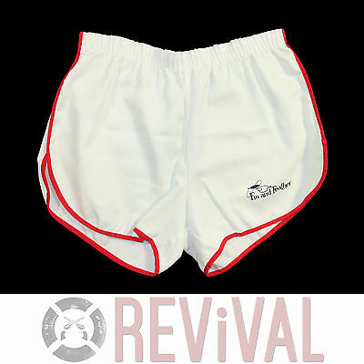 Vintage 80s FIN AND FEATHER Fly Fishing Retro Athletic White Short Shorts L