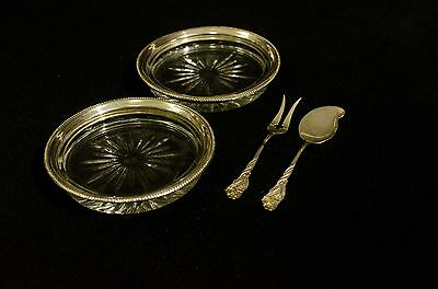 Vintage Pair  Cut Glass Shallow Dishes w/ Sterling Silver Jam Knive & Olive Fork