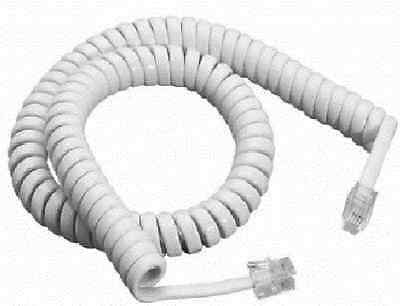 Telephone Phone Curly Handset Lead Cable Cord Wire Rj10 Plug White 2M