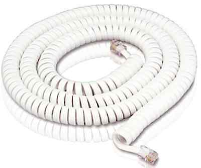 Telephone Phone Curly Handset Lead Cable Cord Wire Rj10 Plug White 5M