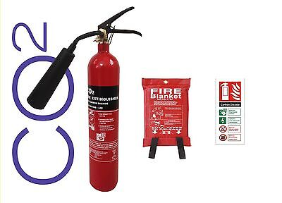 New 2 Kg Co2 Fire Extinguisher With Fire Blanket Glow Id Sign Office Home Work