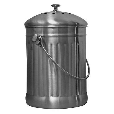 Sunleaves Stainless Steel Compost Can, 1.1 Gallon w/ Carbon Filter in Lid