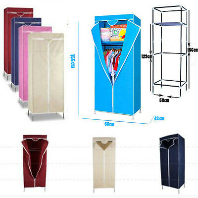 Assorted Fabric Canvas Clothes Wardrobe Cupboard Hanging Rail Storage Shelf Home