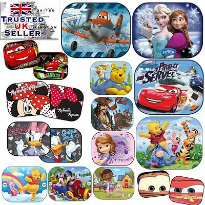 2x Disney Car UV Sun Shade Baby Children Kids Window Visor Cars Frozen Spiderman