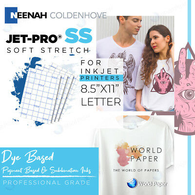 "Inkjet Iron On Heat Transfer Paper Neenah Jetpro Ss Sofstretch 8.5 X 11""-100 Pk"