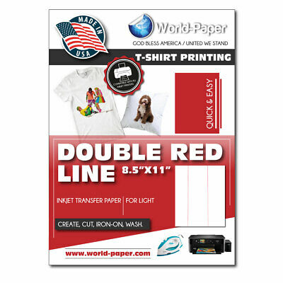"Heat Press Transfer Paper light. Inkjet Heat Transfer 25 sheets 8 1/2"" x 11"" PL"