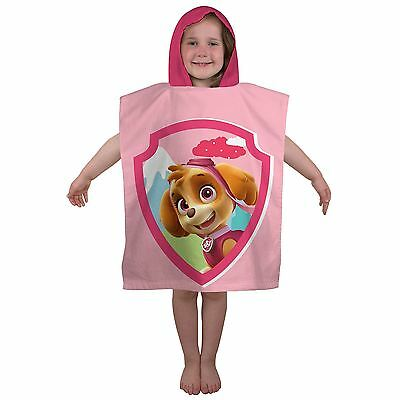 Paw Patrol Stars Skye Hooded Towel Poncho 100% Cotton Official New