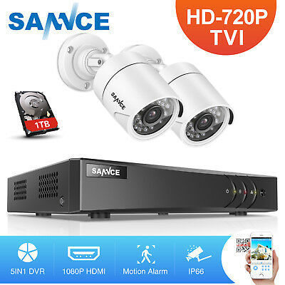 SANNCE 720P 4CH HDMI DVR Video 1500TVL Outdoor Home Security Camera System 1TB