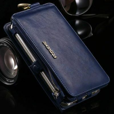 Magnetic Wallet Stand Real Leather Card Slot Flip Cover Case For iPhone Samsung