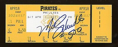 MIKE SCHMIDT Full Ticket 500 Home Run Game w/ Autograph #500 APR 18 1987