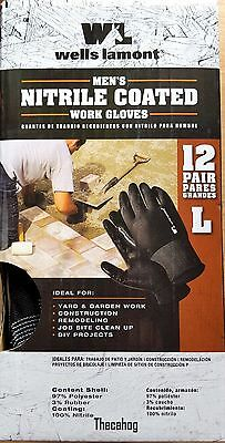 New ! Box of 12 Pairs Wells Lamont Large Size Men's Nitrile Coated Work Gloves L