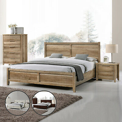 Bedroom Suite Bed Frame Queen King Bed Bedside Tallboy 4pcs Three colour Alice