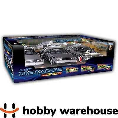 Welly Back to the Future Delorean Time Machine 3 Diecast Car Trilogy Pack 1:24