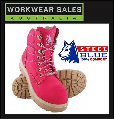 Steel Blue Southern Cross Ladies Work Steel Cap Boots Shoes Purple & Pink