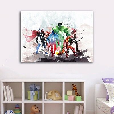 Watercolor Avengers Hero Stretched Canvas Print Framed Wall Art Decor Painting