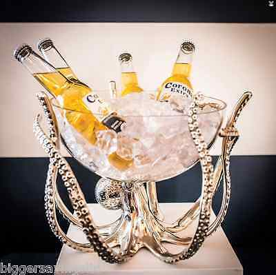 Luxury Octopus Stand & Glass Bowl Nautical Centrepiece Ice Drinks Cooler