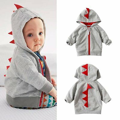 Fashion Toddler Kid Baby Boy Dinosaur Zipper Long Sleeve Tops Jacket Coat Hoodie