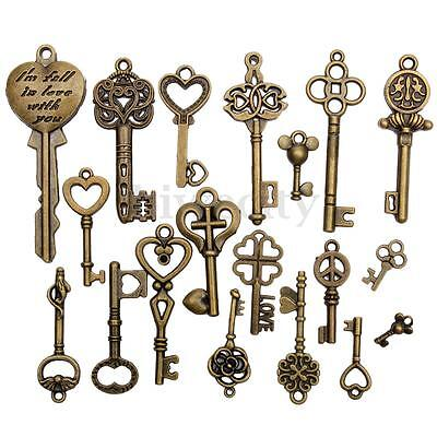 19Pcs Antique Bronze Key Old Look Skeleton Pendant Heart Bow Lock Jewelry Set