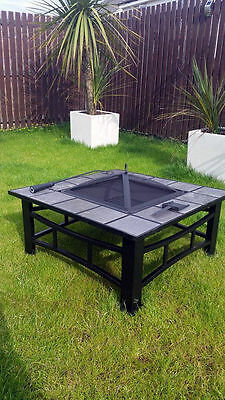 Garden Firepit Patio Heater Stove Fire Pit Square Brazier Table Tile Large Black
