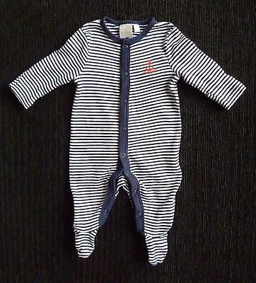 Baby clothes BOY newborn 0-1m Jasper Conran dark blue/white stripe babygrow NEW!
