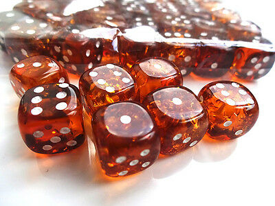 Baltic Amber Dice with rounded corners, amber pressed . 10 mm -One Dice