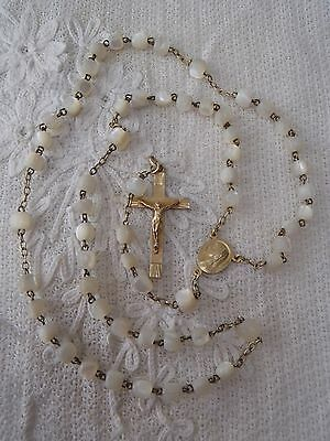 Antique French Solid Silver and mother of pearl 16in Rosary