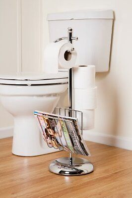 Elegant Designed Toilet Roll Holder With Magazine Rack-Chrome