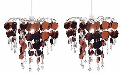2 x Crystal Droplet Ceiling Light Pendant Lamp Shade Chandelier Home Decor WHITE